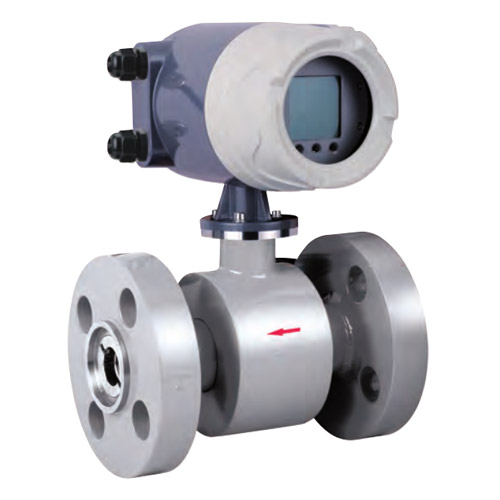 What is the measuring range of the electromagnetic flowmeter?